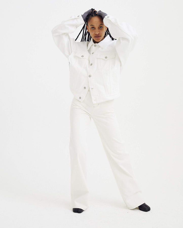 Denim Sports Jacket - White WOMENS MM6 MAISON MARGIELA