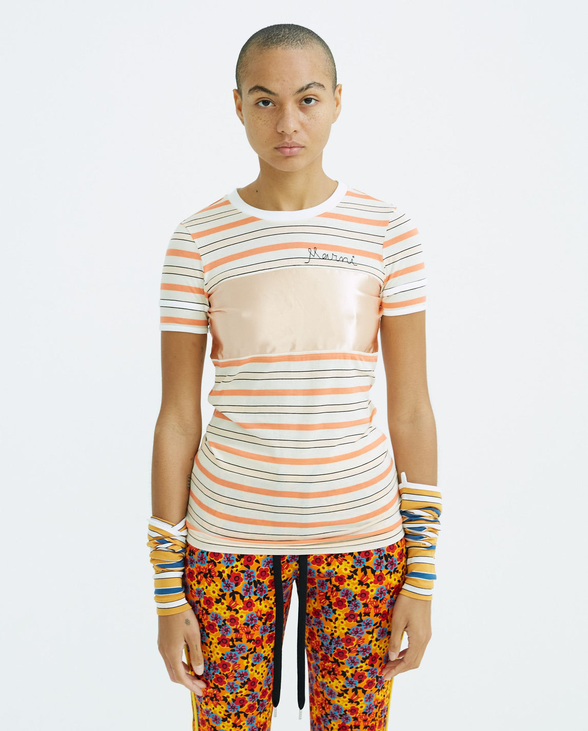 Detachable Sleeve Stripe T-Shirt - Ivory / Orange WOMENS MARNI