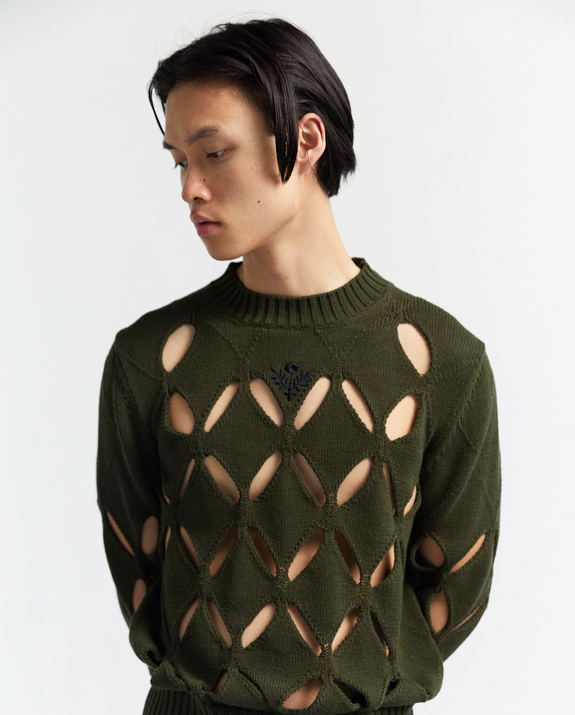 Diamond Slashed Jumper With Floral Embroidery - Green MENS STEFAN COOKE