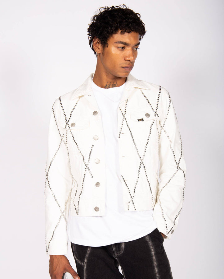 Diamond Studded Denim Jacket - White MENS STEFAN COOKE