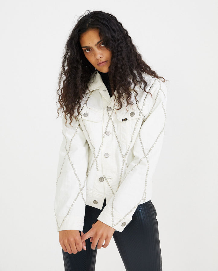 Diamond Studded Denim Jacket - White UNISEX STEFAN COOKE