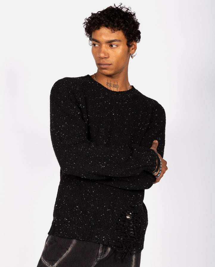 Distressed Sweater - Black MENS MAISON MARGIELA