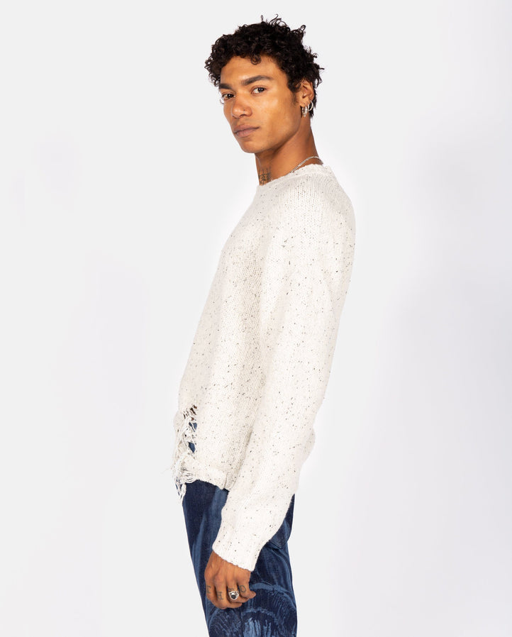 Distressed Sweater - White MENS MAISON MARGIELA