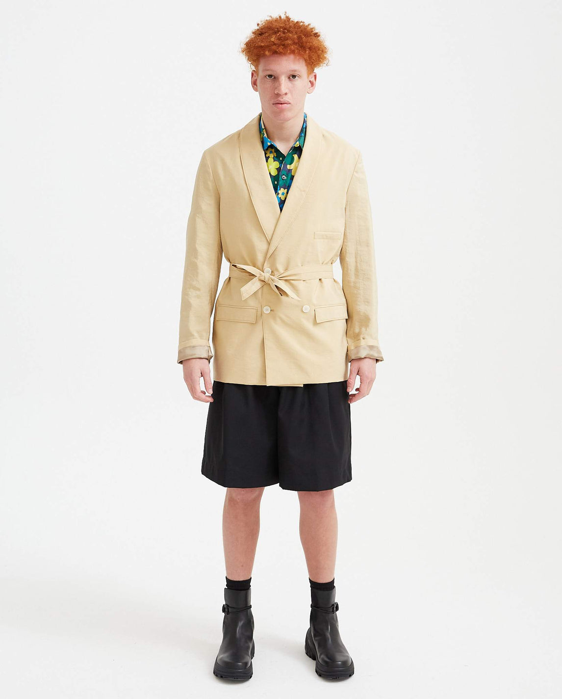 Double Breasted Belted Blazer - Beige MENS LEMAIRE