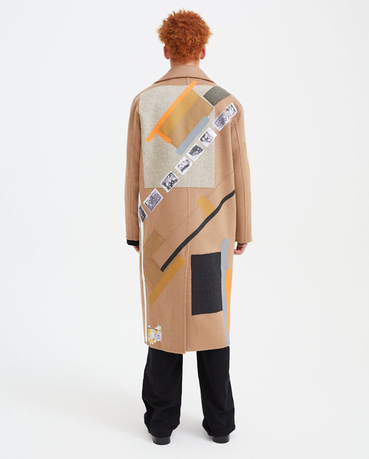 Double-Faced Sterling Coat with Patches - Beige MENS RAF SIMONS