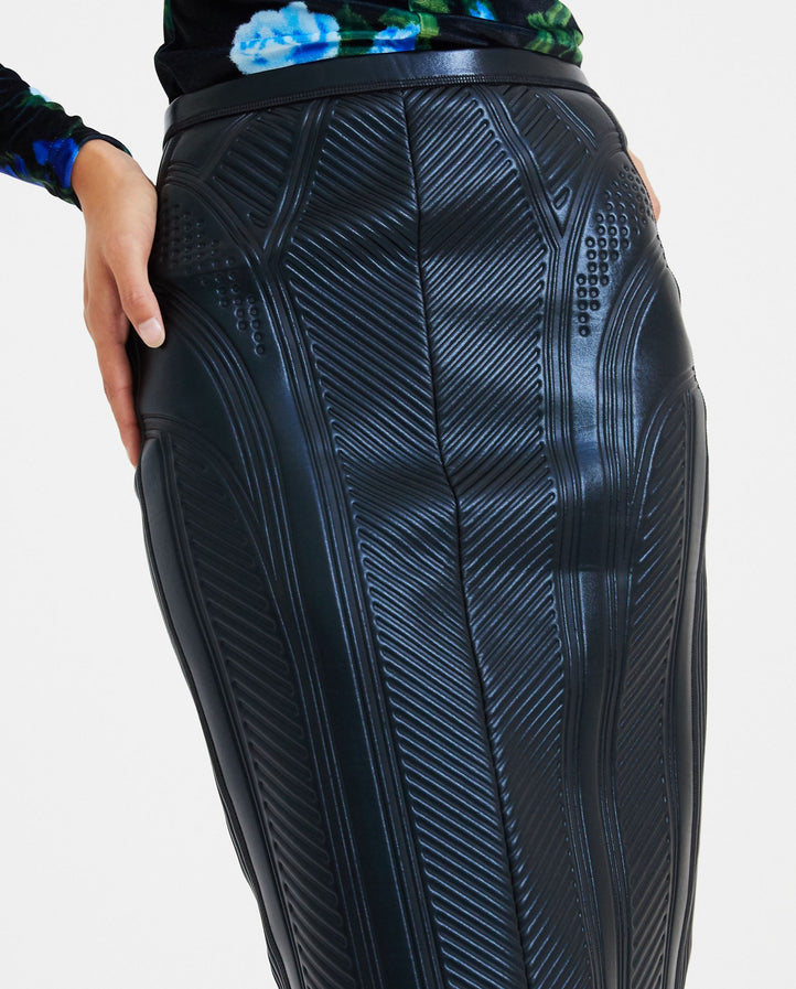 Embossed Pencil Skirt - Black WOMENS MUGLER