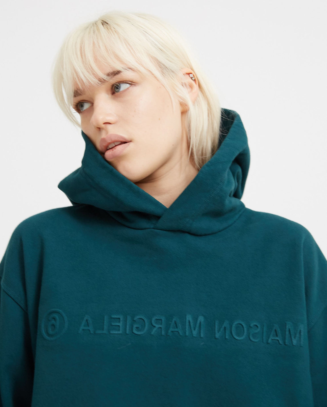 Embroidered Hoodie - Green WOMENS MM6 MAISON MARGIELA