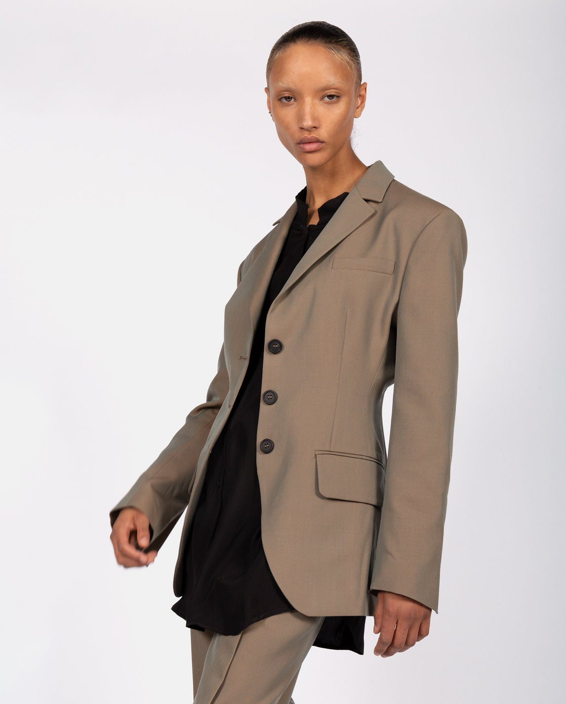 Exaggerated Shoulder Blazer with Pins - Green WOMENS DELADA