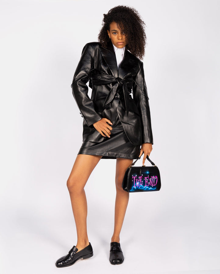 Faux Leather Blazer with Overlay Bra - Black UNISEX MATERIEL