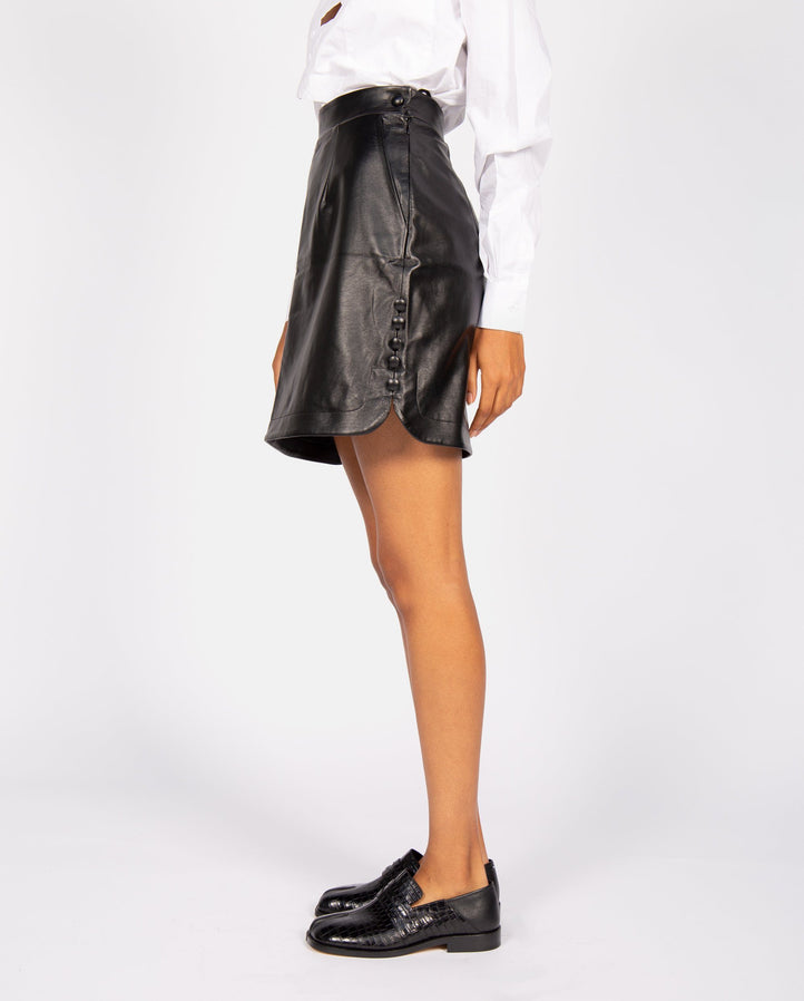 Faux Leather Mini Skirt - Black UNISEX MATERIEL
