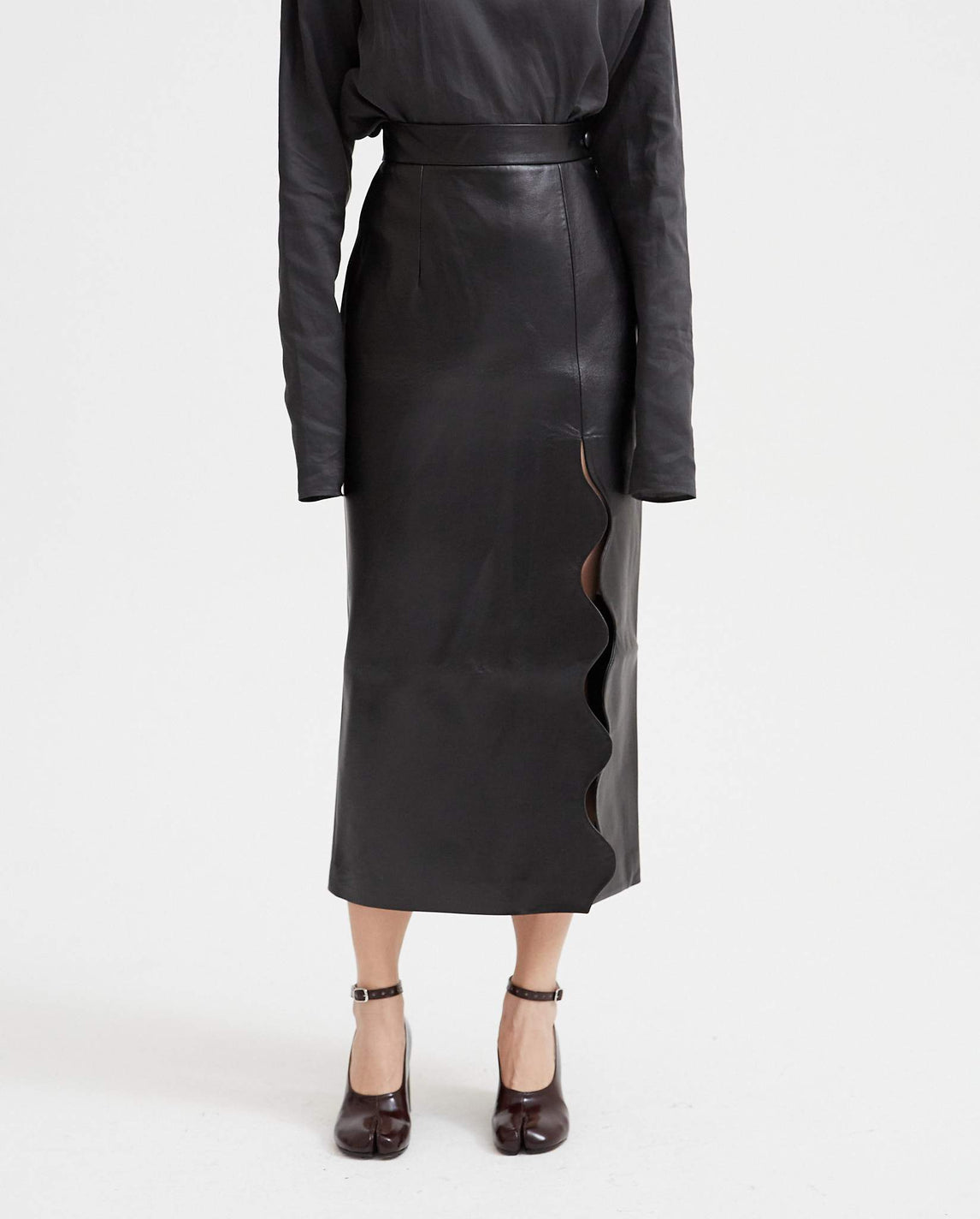 Faux Leather Wave Skirt - Black WOMENS MATERIEL