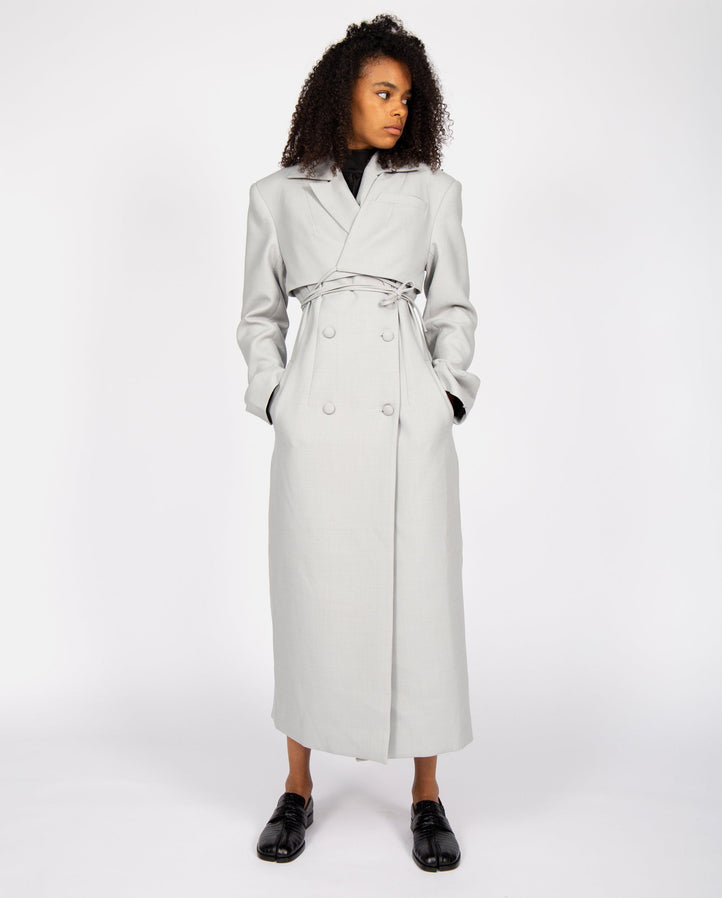 Fitted Coat with Overlayer - Stone UNISEX MATERIEL