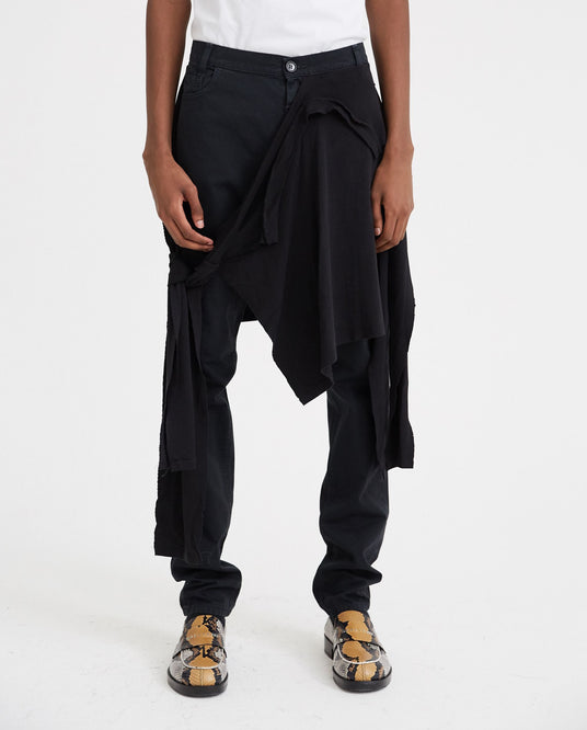 Fitted Jeans With T-Shirt At Waist - Black MENS RAF SIMONS