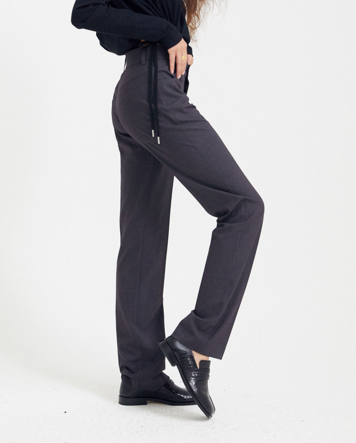 Fitted Trousers - Grey UNISEX GOOMHEO