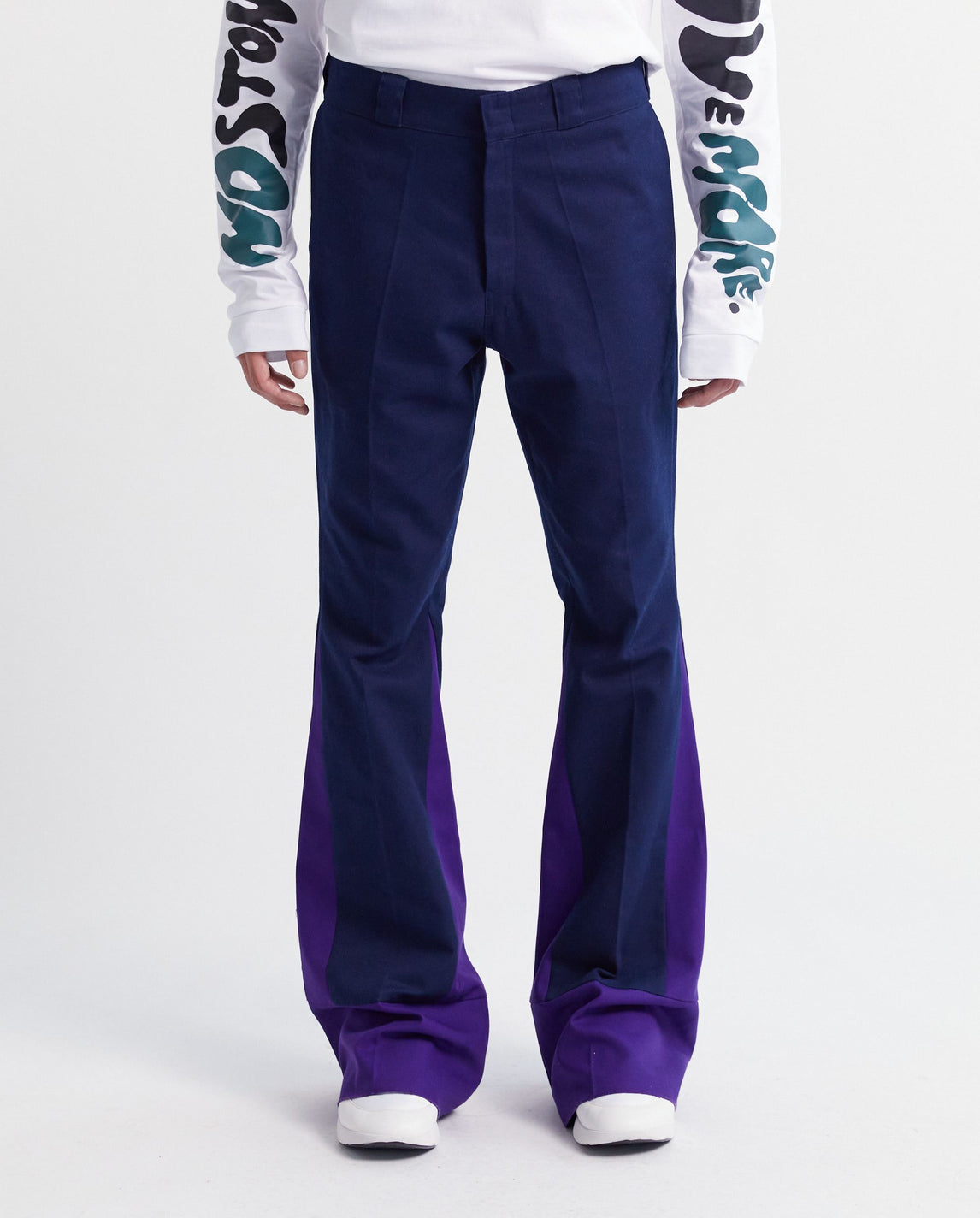 Flared Pants With Contrasting Inserts - Navy/Purple MENS RAF SIMONS