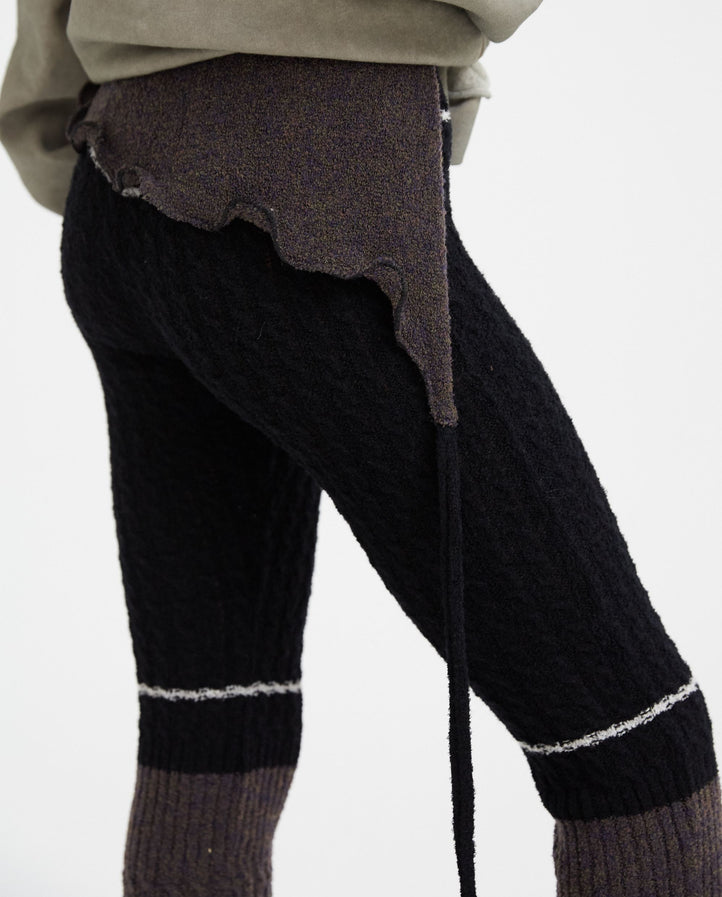 Flared Ripp Knit Pants - Grey/Black WOMENS OTTOLINGER
