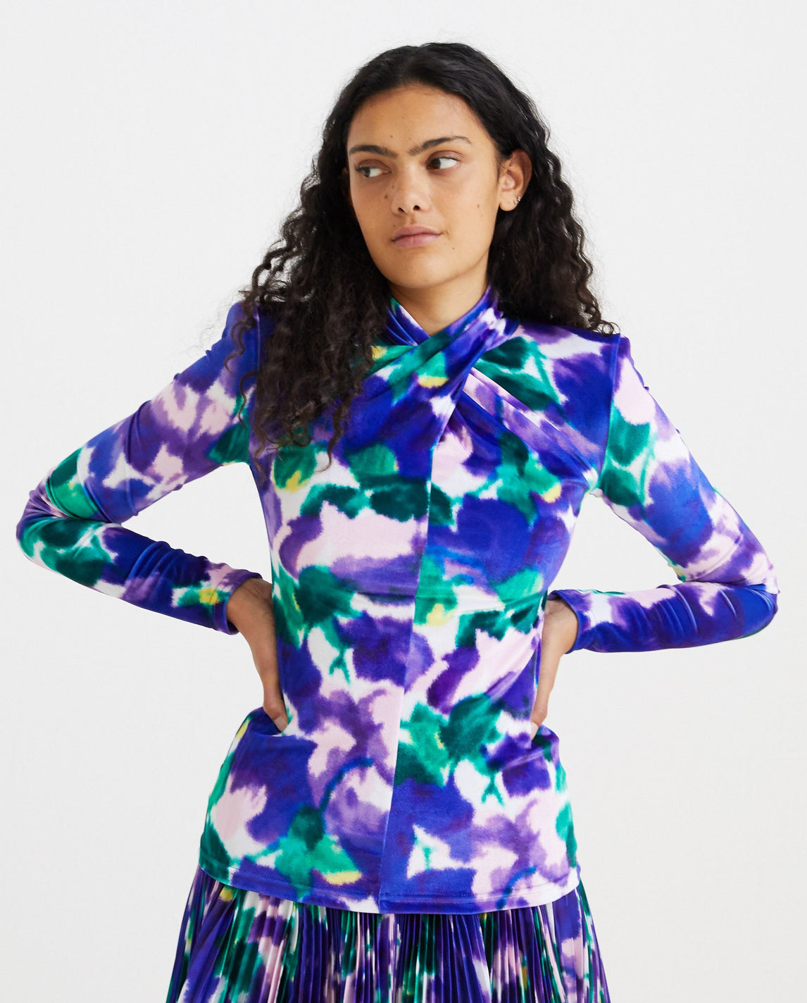 Floral Twist Top - Bellflower Purple WOMENS RICHARD QUINN