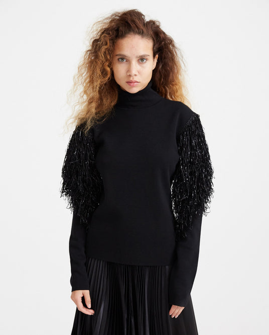 Frill Sleeve Turtleneck - Black WOMENS JW ANDERSON
