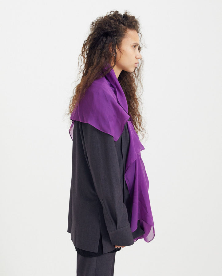 Front panel Shirt jacket - Grey and Purple UNISEX GOOMHEO