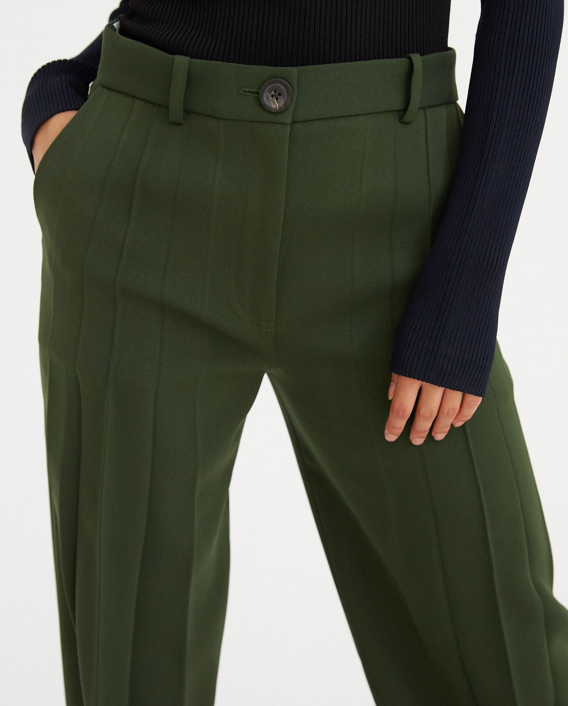 Front Pleated Pants - Forest UNISEX PETER DO