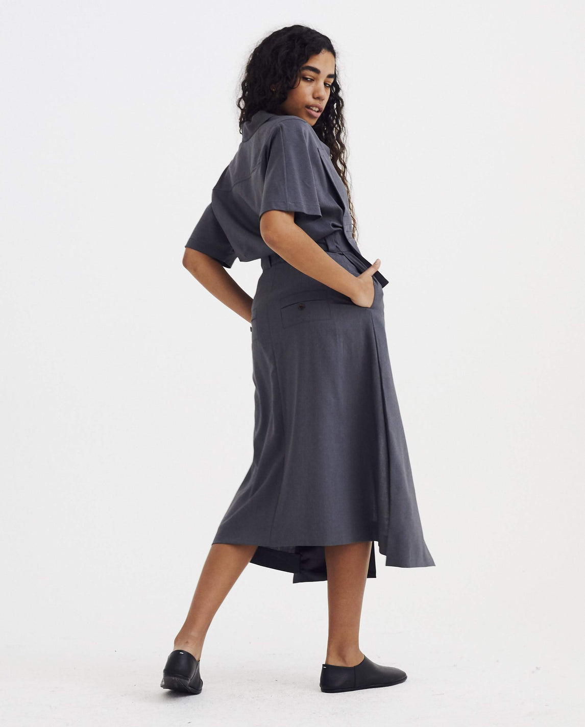 Front Slit Dress/Jumpsuit with Pockets - Grey WOMENS EFTYCHIA