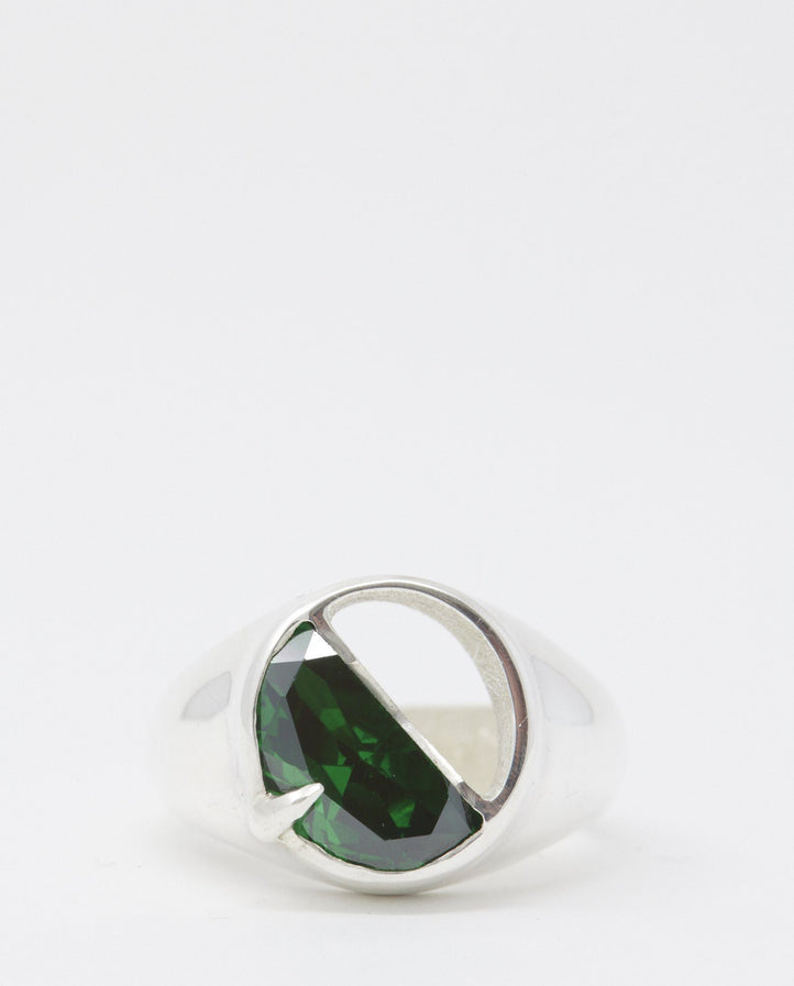 Half Stone Oval Signet Ring - Green Stone UNISEX SWEET LIME JUICE