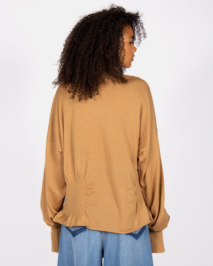 High Neck Ribbed Knit - Beige UNISEX SULVAM