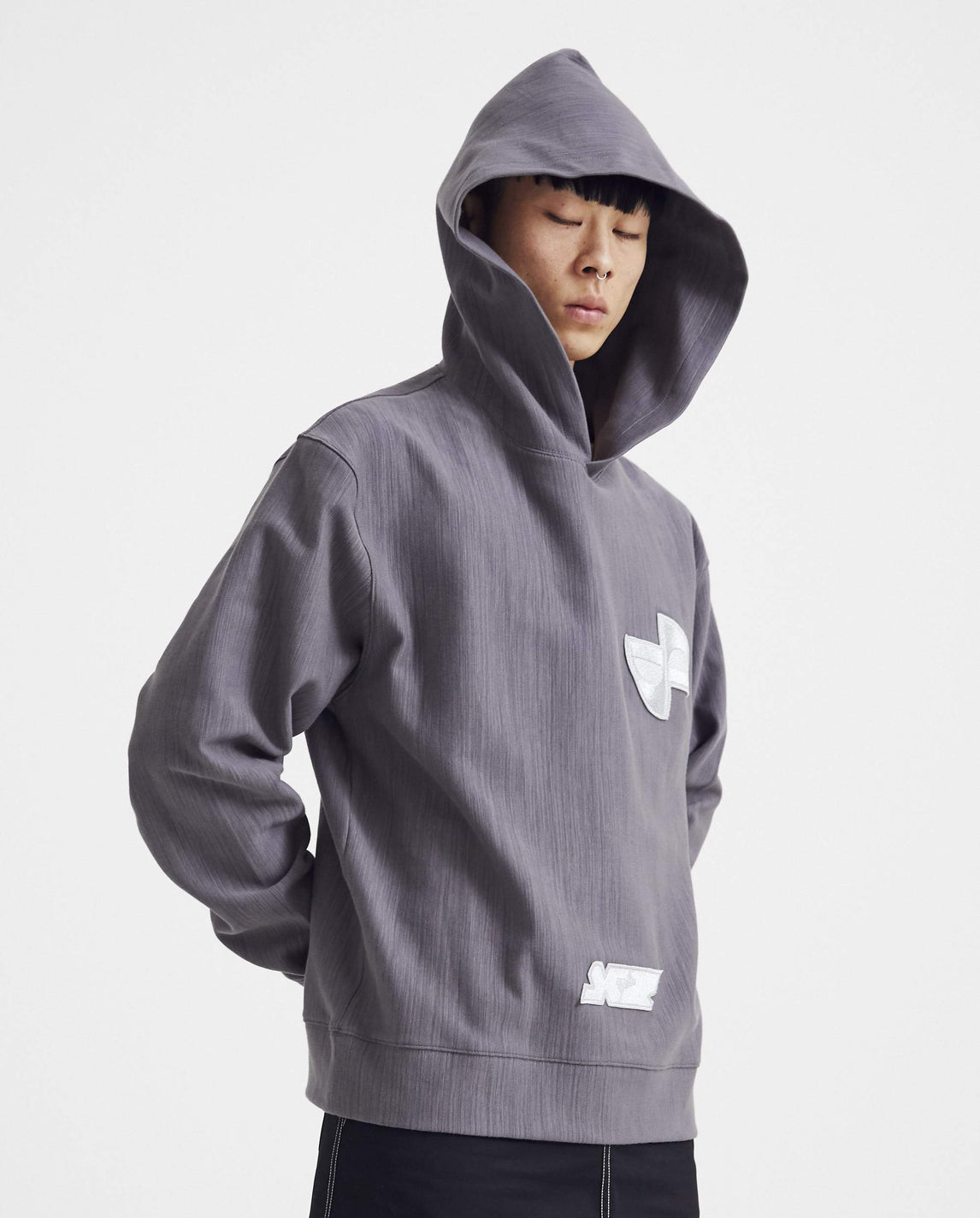 Hoodie with Grey Logo Patch - Dark Grey MENS XANDER ZHOU