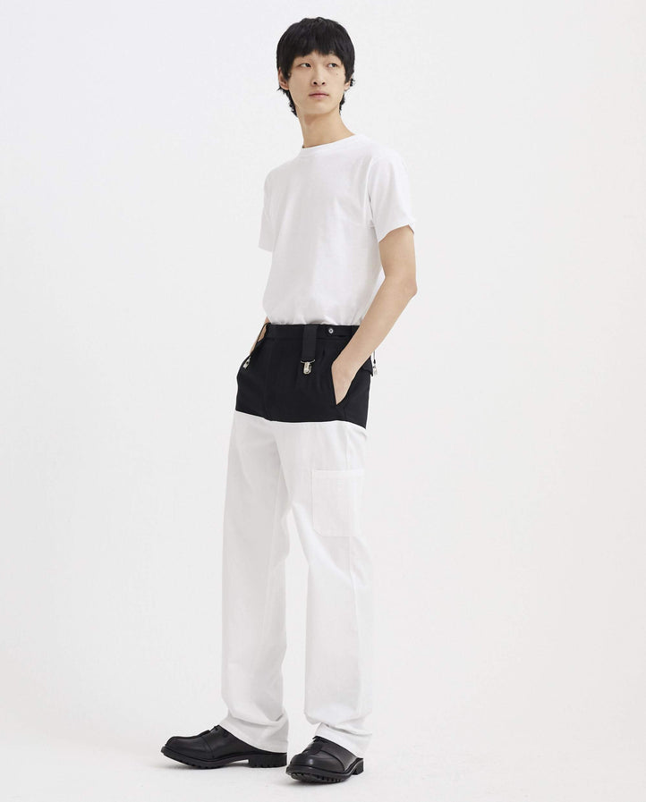 Horizontal Cut Pants with Suspenders - Black / White MENS RAF SIMONS