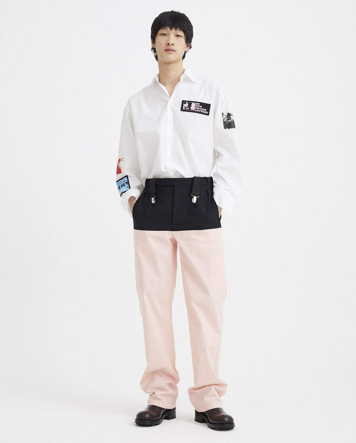 Horizontal Cut Pants with Suspenders - Dark Navy / Salmon MENS RAF SIMONS