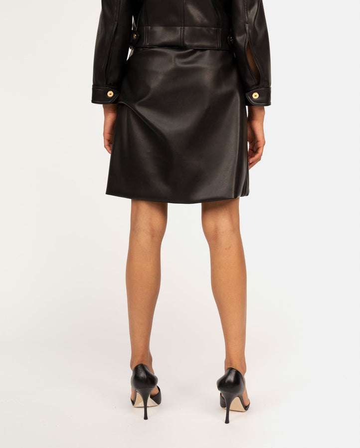 Iconic Faux-Leather Skirt - Black WOMENS PATOU