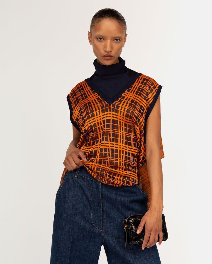 Jacquard Knit Vest - Navy / Orange WOMENS TOGA