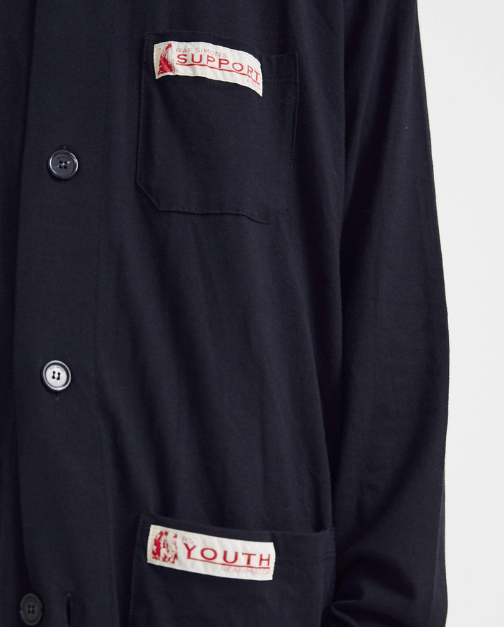 Jersey Labo Coat With Two Woven Labels - Black MENS RAF SIMONS