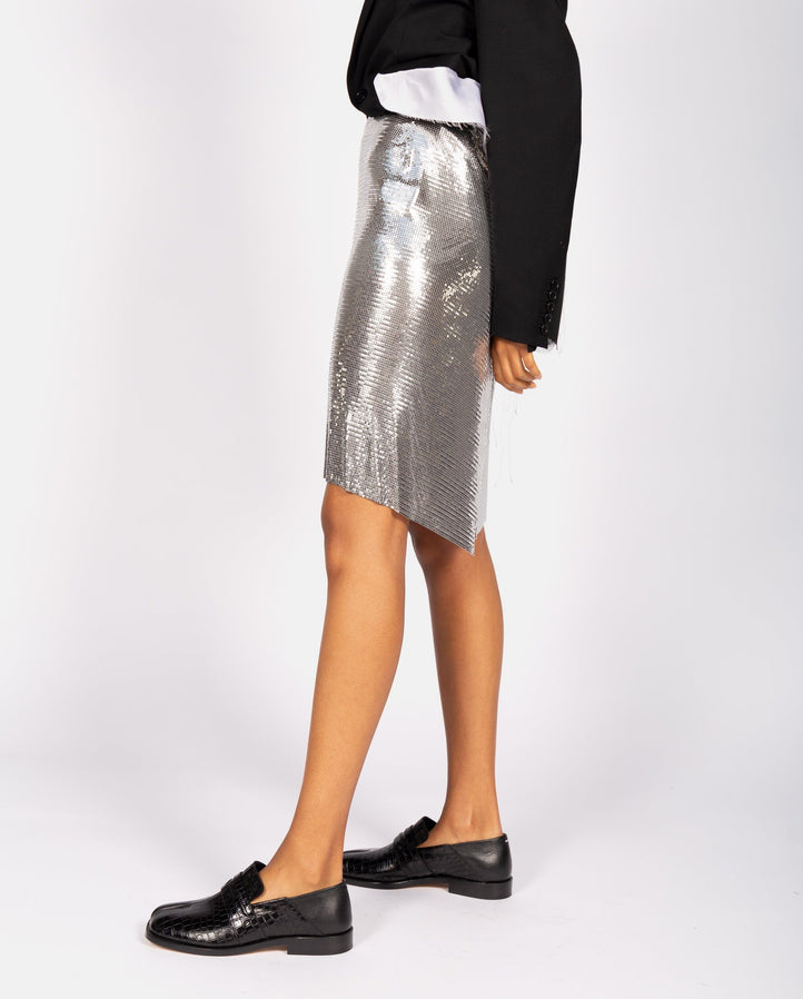 Jupe Mini Skirt - Silver WOMENS PACO RABANNE