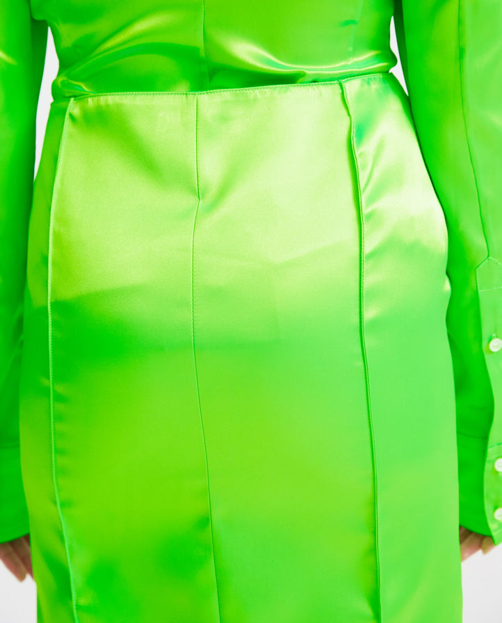 Knee Length Faceted Skirt - Neon Green WOMENS KWAIDAN EDITIONS