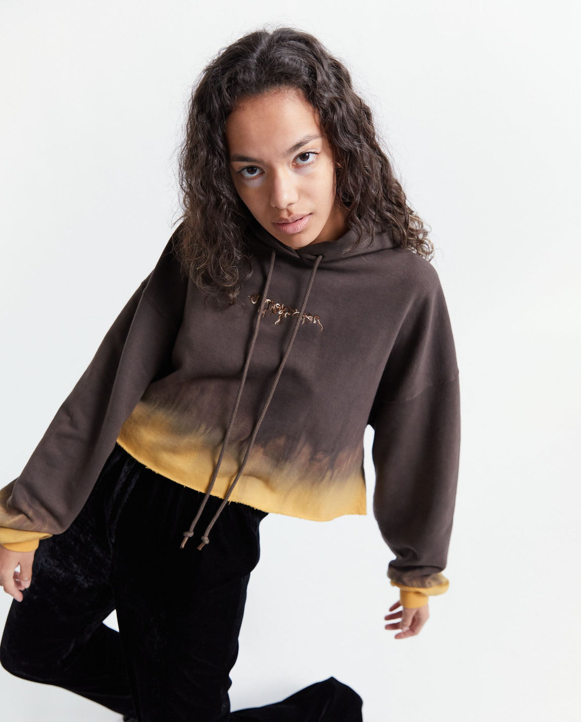 Knitted Otto Hoodie Cropped - Brown WOMENS OTTOLINGER