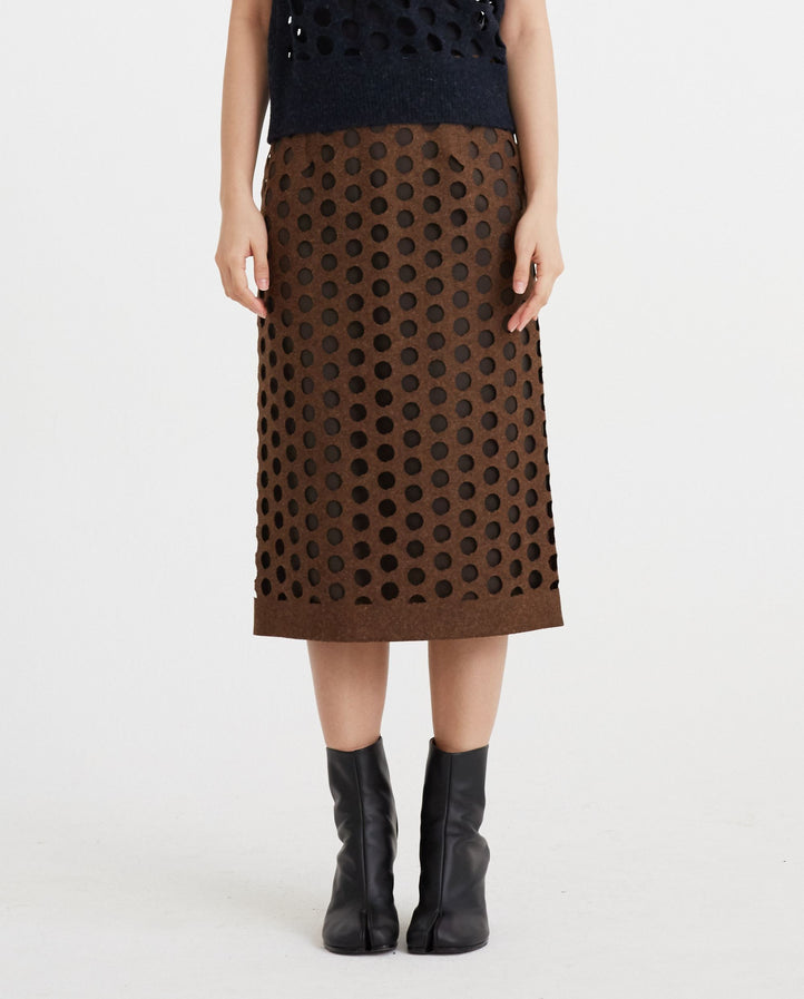Knitted Wool Skirt - Brown WOMENS MAISON MARGIELA