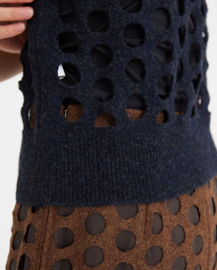 Knitted Wool Vest - Navy Blue WOMENS MAISON MARGIELA