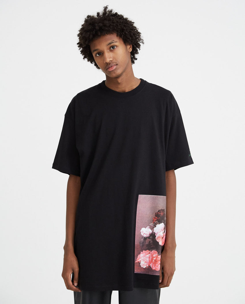 Large Short Sleeved T-Shirt With Flower Print - Black MENS RAF SIMONS