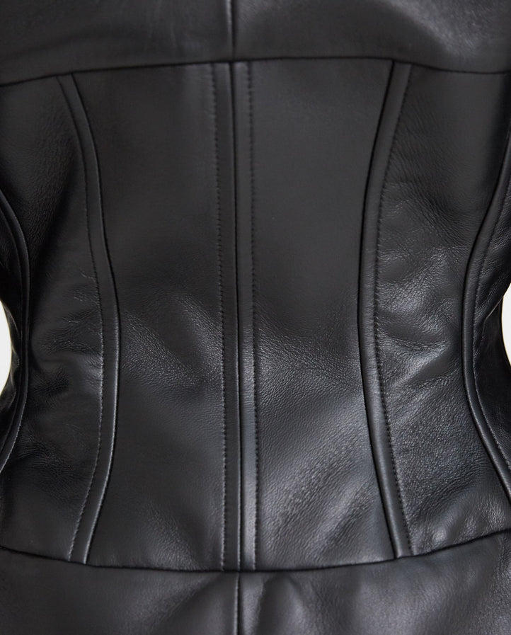 Leather Bustier Blazer - Black WOMENS MUGLER