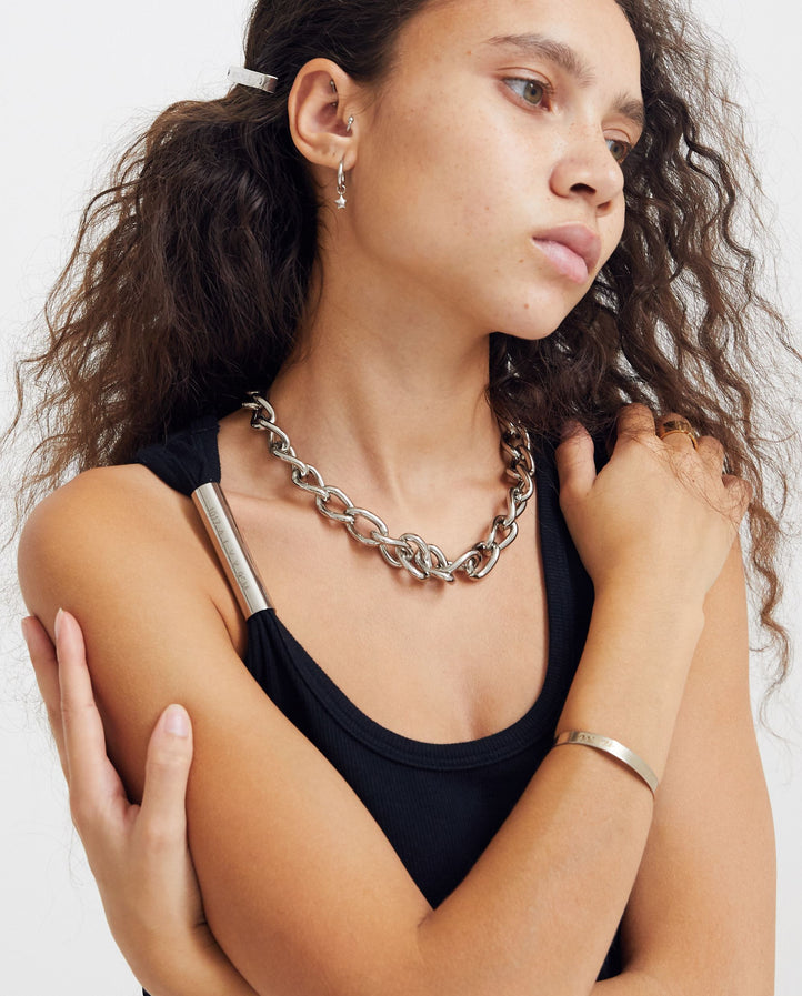 Leather Chain Necklace - Silver/Black UNISEX 1017 ALYX 9SM