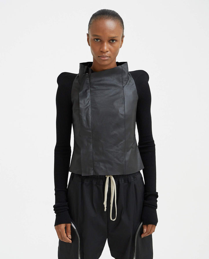 Leather Cobra Biker Jacket - Black WOMENS RICK OWENS