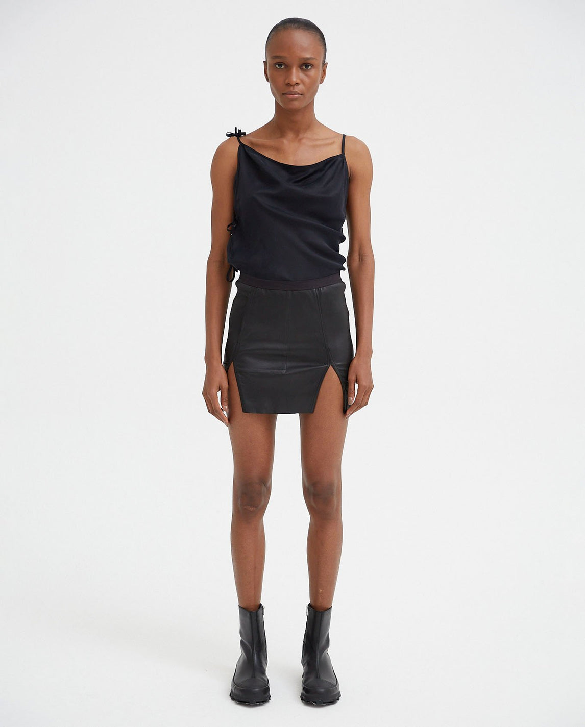 Leather Mini Skirt - Black WOMENS RICK OWENS