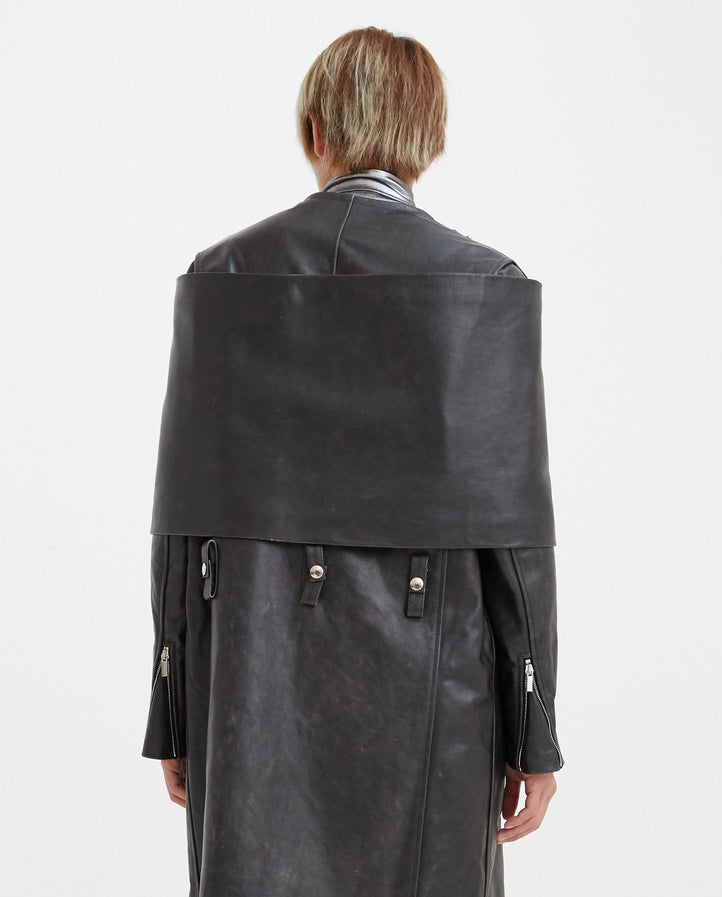 Leather Scarf for Coat - Black MENS RAF SIMONS