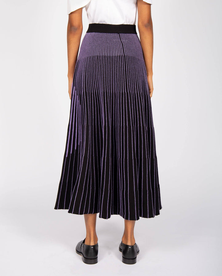 Logo Pleated Skirt - Purple WOMENS MM6 MAISON MARGIELA