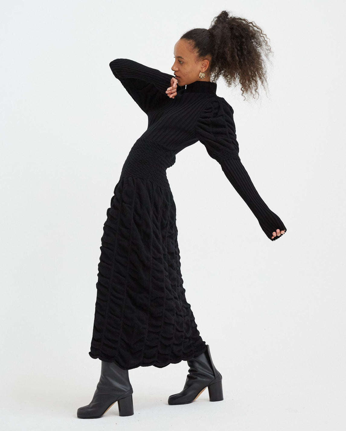 Long Knit Dress - Black WOMENS PAULA CANOVAS DEL VAS