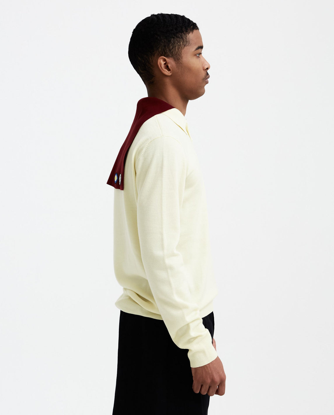 Long Sleeve Polo - Ecru / Maroon MENS NAMACHEKO