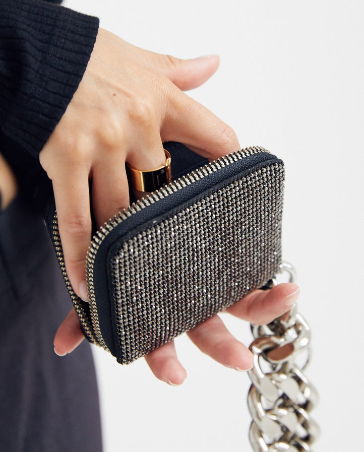 MACHINE-A Exclusive Crystal Mesh Bike Wallet - Black / Silver UNISEX KARA