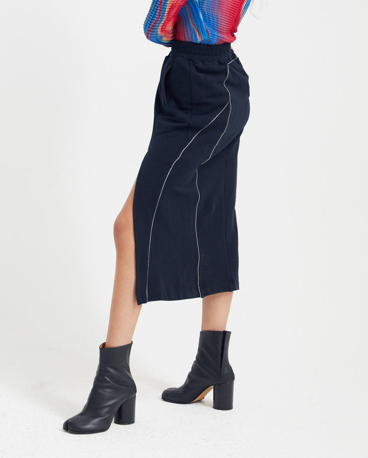 Midi Skirt With Slit - Black WOMENS PRIVATE POLICY