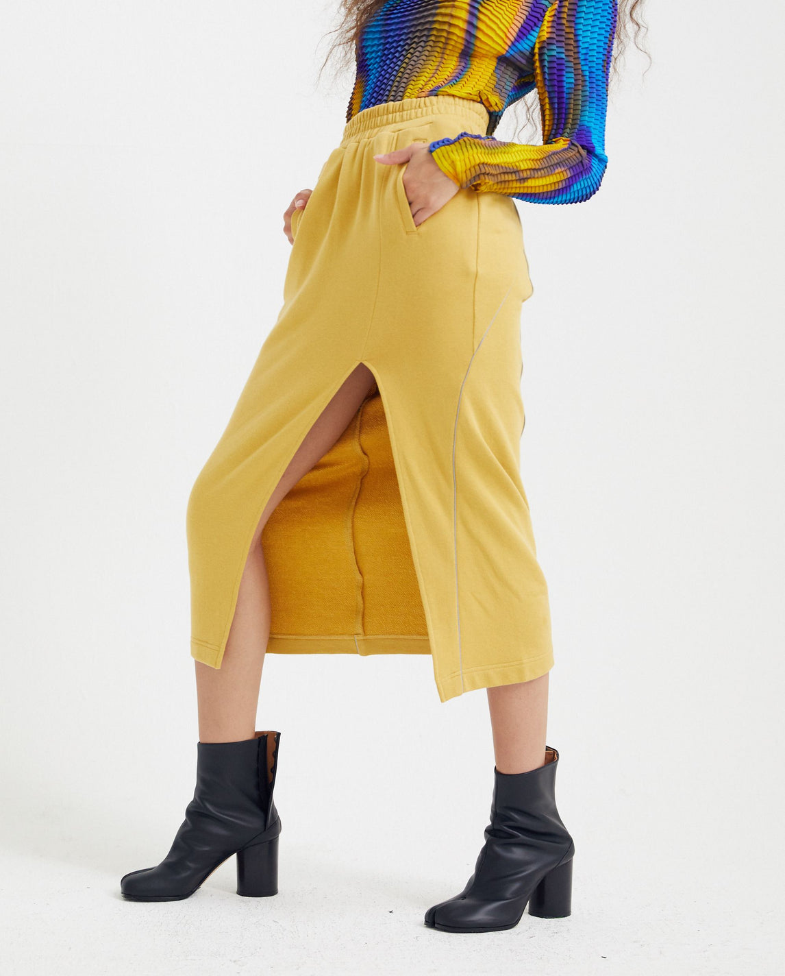 Midi Skirt With Slit - Yellow WOMENS PRIVATE POLICY